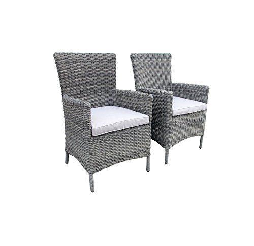 charles bentley garden luxury pair of rattan garden arm chairs grey body with light grey cushions garden rattan furniture