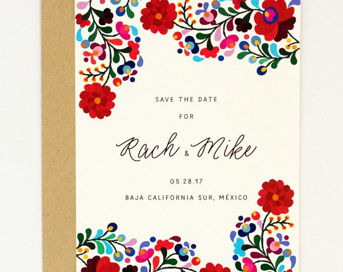 Floral Destination Wedding Invitations - Colorful Mexican Embroidery ...
