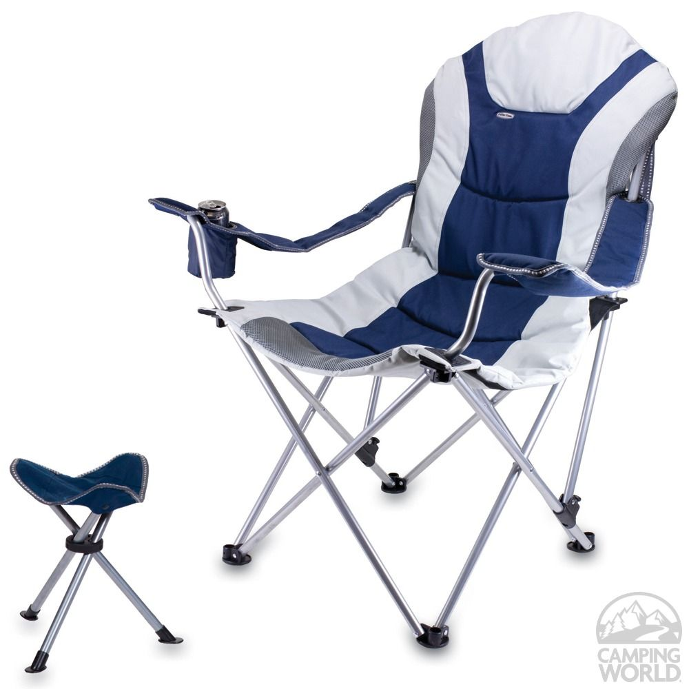 Reclining Camp Chair wFootrest Navy | Camping chairs