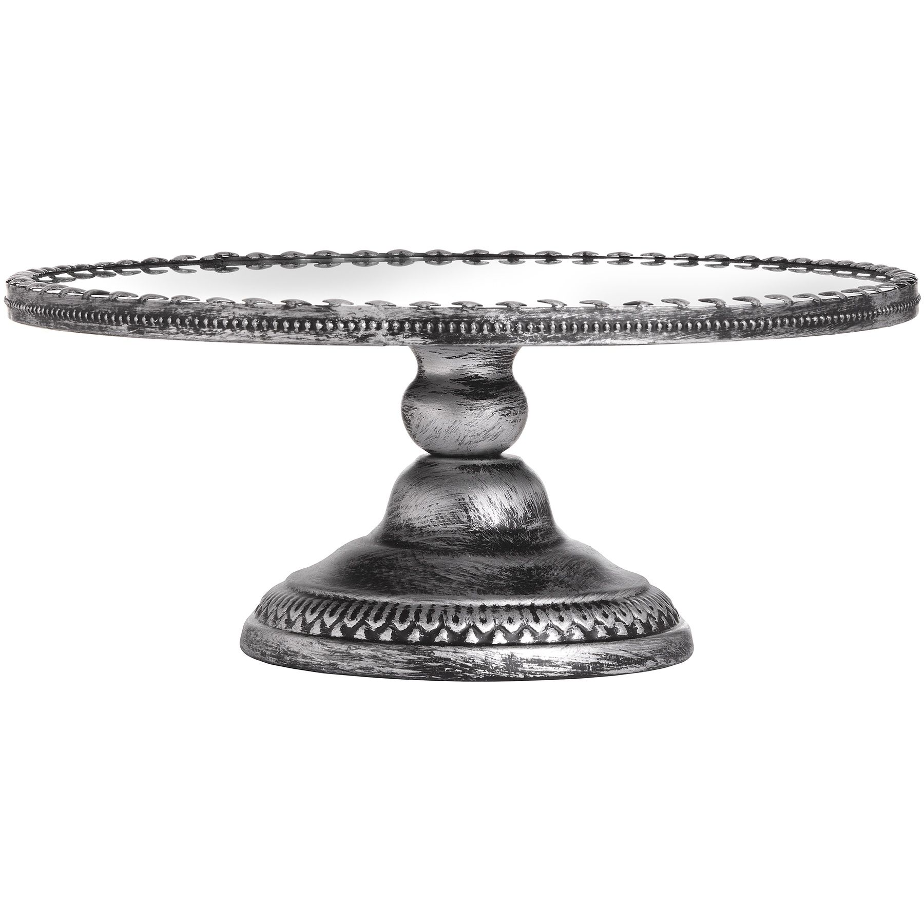 Antique mirrored heart cake stand in brushed silver