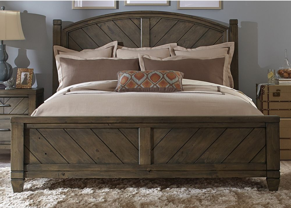 queen bed frame size elegant modern rustic headboard sturdy heavy wood refined unbranded - Sturdy Bed Frame Queen