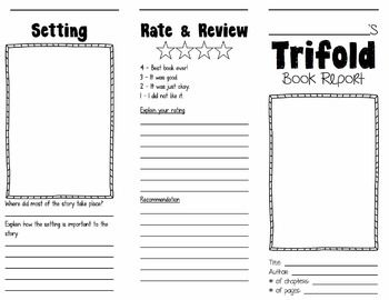 Trifold Book Report Brochures Students and Books