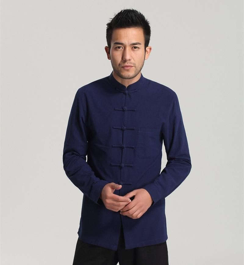 5a54e1ae489a3 White Men Cotton Linen Long sleeve Kung Fu Shirt Classic Chinese Style Tang  Clothing-SHIRTS-SheSimplyShops