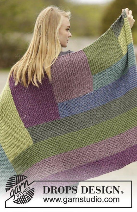 Photo of Handmade hand knit colorblock chunky soft warm alpaca and wool blend blanket / throw, 88 x 130 cm / 34 '' x 51