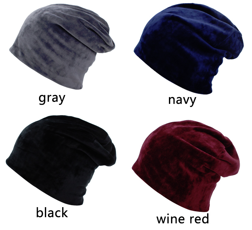 15385f2d9622c Adrien's Shop - Women autumn skullies beanies baggy bonnet velvet solid hat  cap