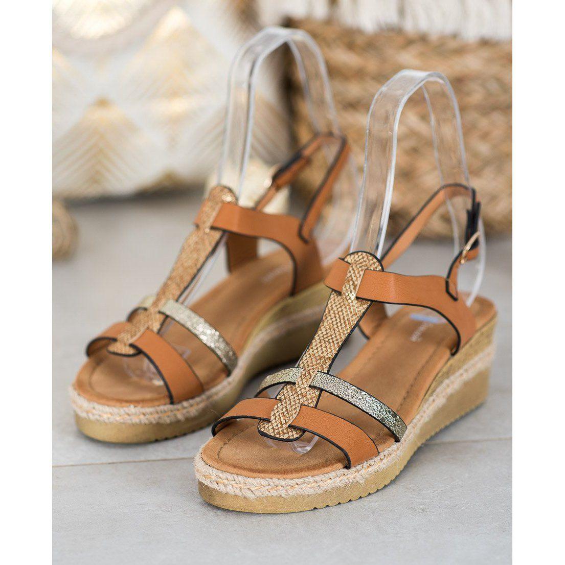 Small Swan Sandalki Na Koturnie Brazowe Zolte Shoes Sandals Fashion
