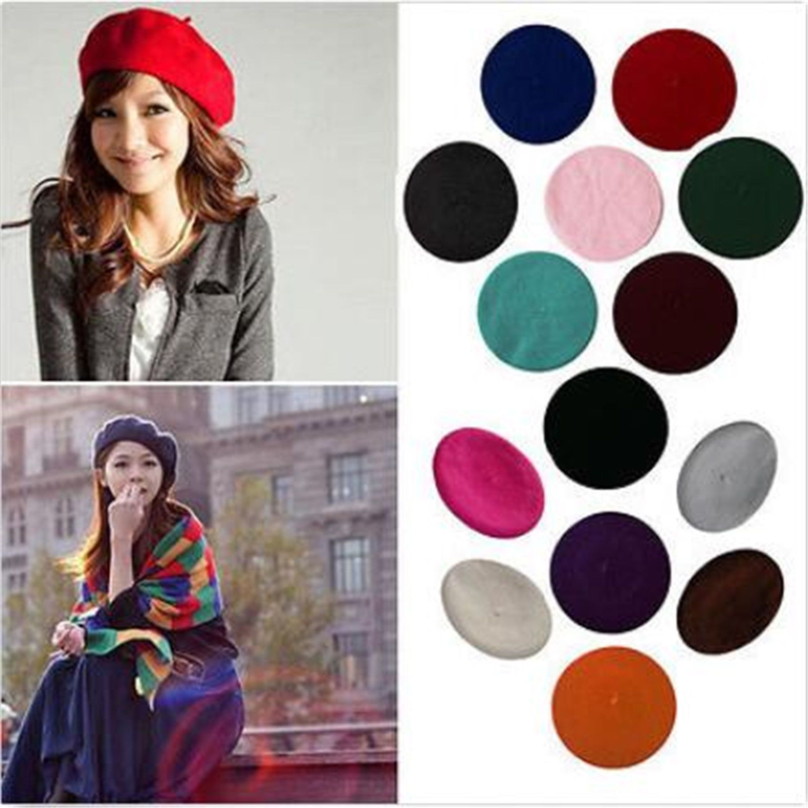 e946d3c8910 Plain Beret Hat Wool Autumn Women