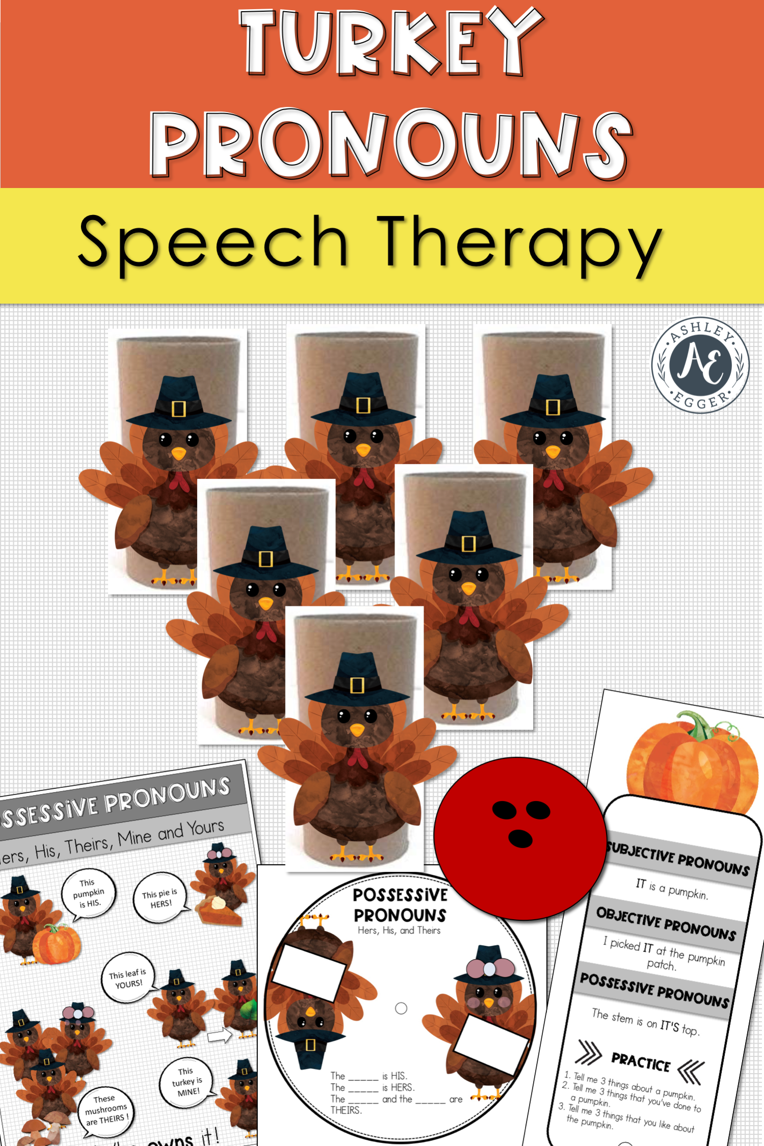 Pronouns Speech Therapy Games For Thanksgiving