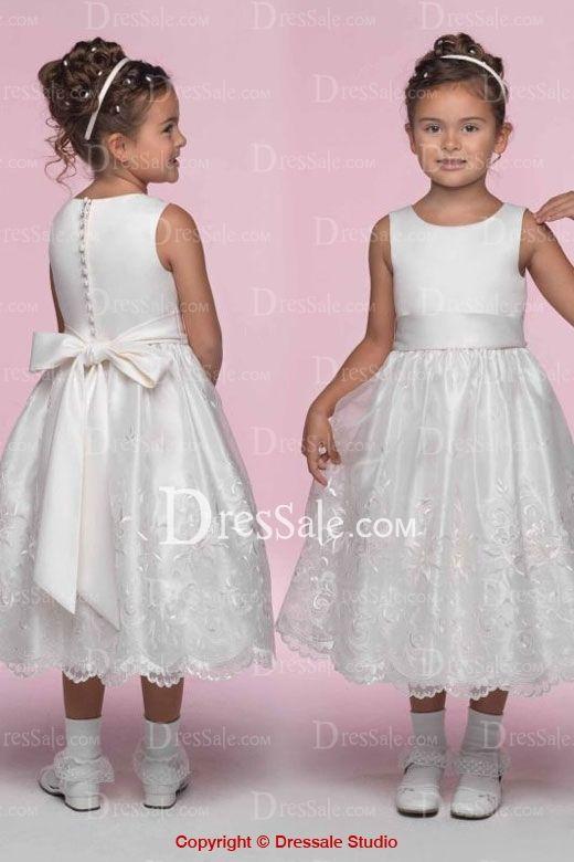 Sleeveless Tea Length Ball Gown for Flower Girl