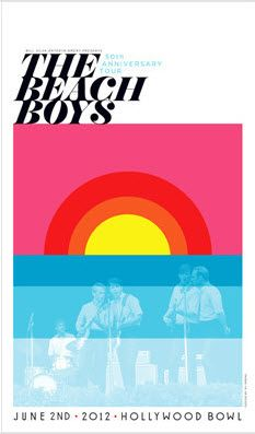 """The Beach Boys by Kii Arens  •Hollywood Bowl June 2nd, 2012 •Artwork by Kii Arens •20 x 30"""" •Fluorescent Lithograph  •Signed £45.00  http://www.thefloodgallery.com/collections/latest-arrivals/products/the-beach-boys"""