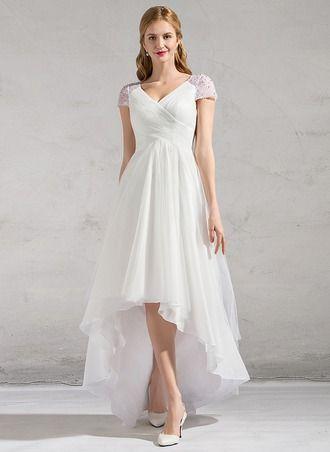 corte a/princesa escote en v asimétrico tul vestido de novia con