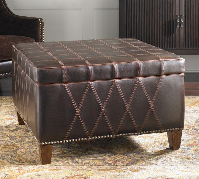 Geometric Beauty Faux Leather Storage Ottoman Leather Coffee