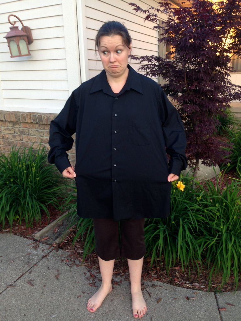 men's dress shirt to little black dress refashion | diary of a