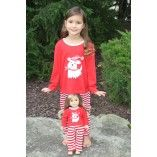 Red and White Stripe Dog Pajama Set Matching for Child and American Girl or Bitty Baby Doll
