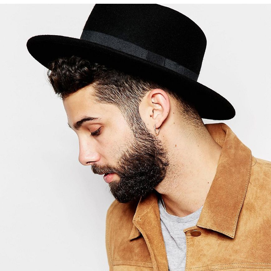 96ab10302afcc Fashion Wool Boater Flat Top Hat For Men s Felt Wide Brim Fedora Hat  Gentleman Prok Pie Chapeu de Feltro Bowler Gambler Top Hat-in Fedoras from  Men s ...