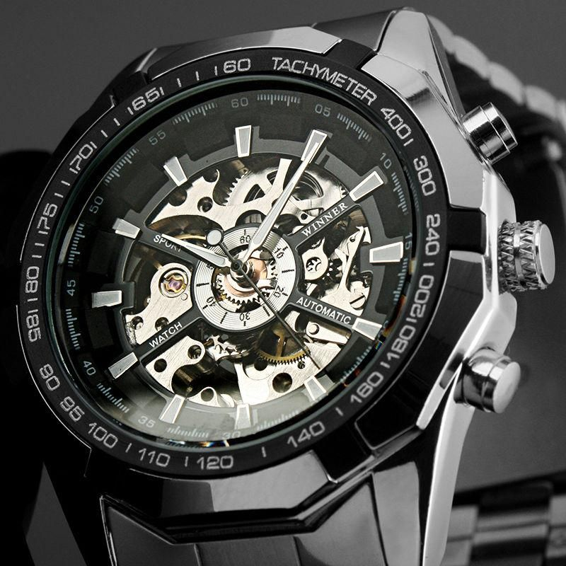 aa7fec42643 Transparent dial with skeleton design gives you the most fashionable point  of view. Stainless steel watch case makes the watch more durable.