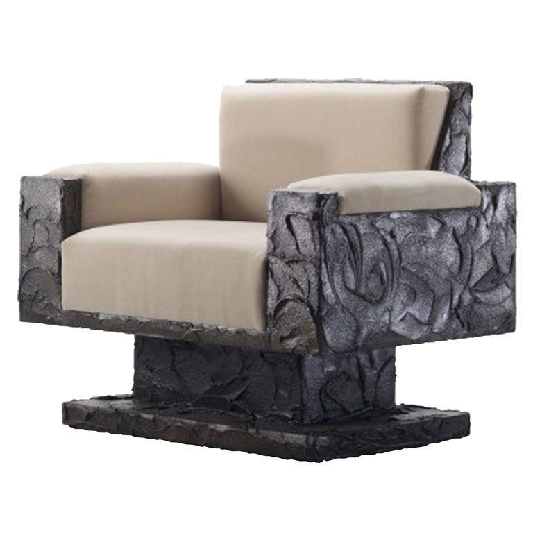 Paul Evans Studio Sculpted Bronze Brutalist Armchair