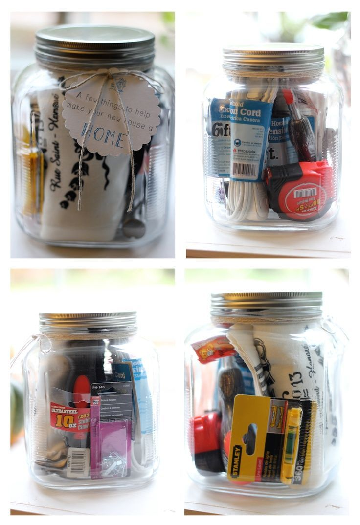 Cute House Warming Gift Idea (mason jar filled with useful household ...