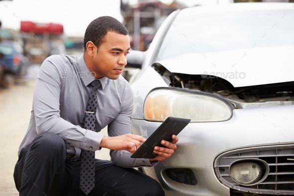 Loss Adjuster Using Digital Tablet In Car Wreck Inspection Digital Tablet Technology Photos Business Card Mock Up