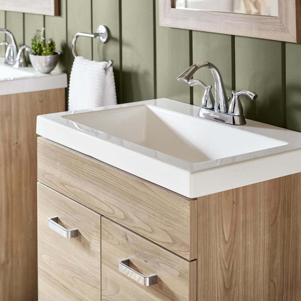 Glacier Bay Sandlyn 24 5 In W Bath Vanity In Forest Elm With Cultured Marble Vanity Top In White With White Basin And Mirror S1924p3 Fe The Home Depot Marble Vanity Tops Cultured