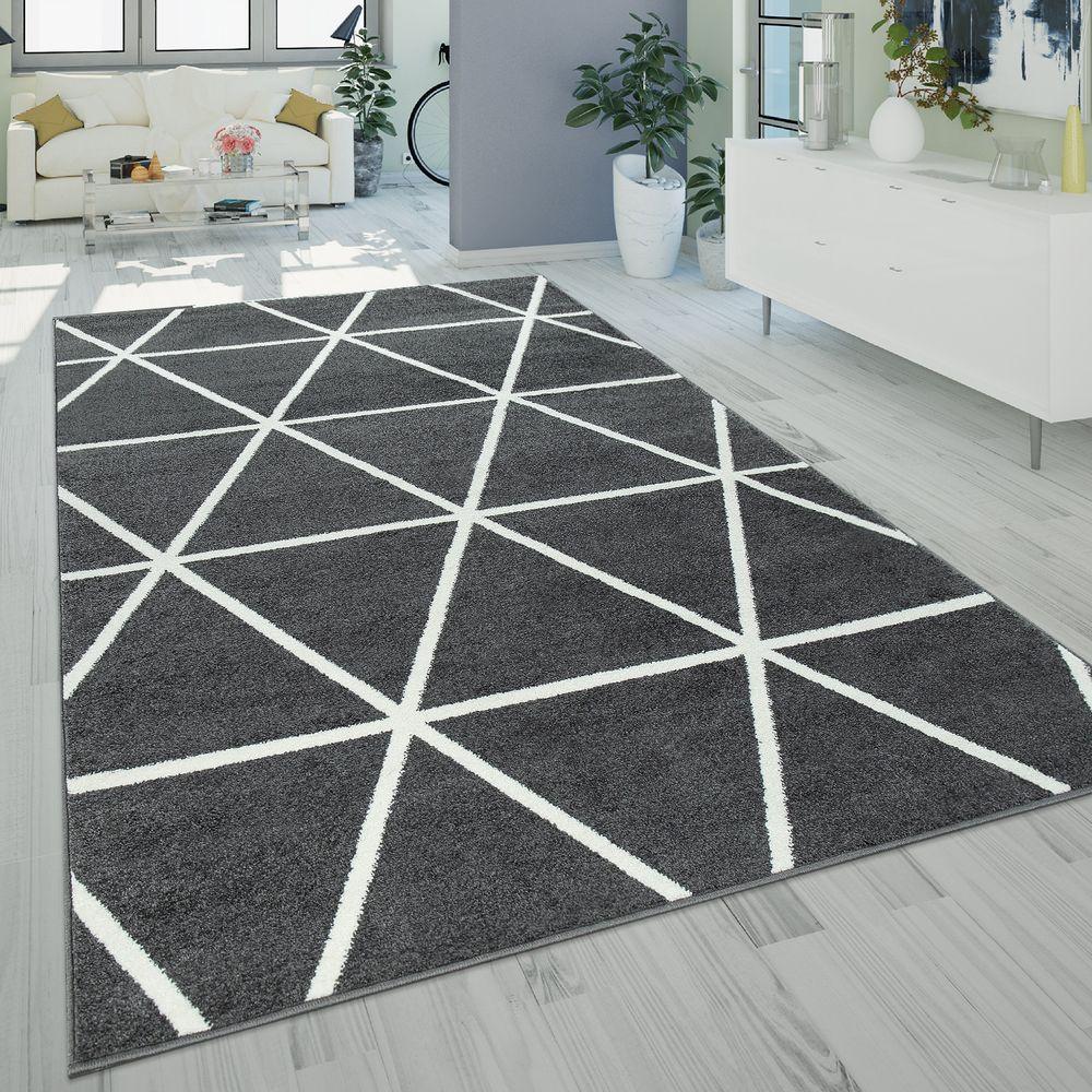 Kurzflor-Teppich Rauten-Muster Grau Anthrazit   Kurzflor ...