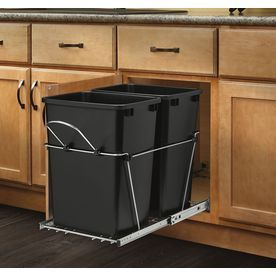 Rev A Shelf 35 Quart Plastic Pull Out Trash Can Lowes 14 38 W X 22 D 19 25 H 73 Separte Face Plate Kit