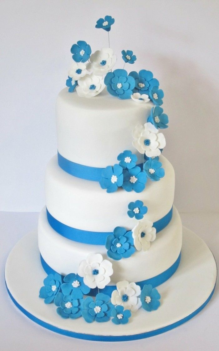 Layer Square Wedding Cake Blue Ombre