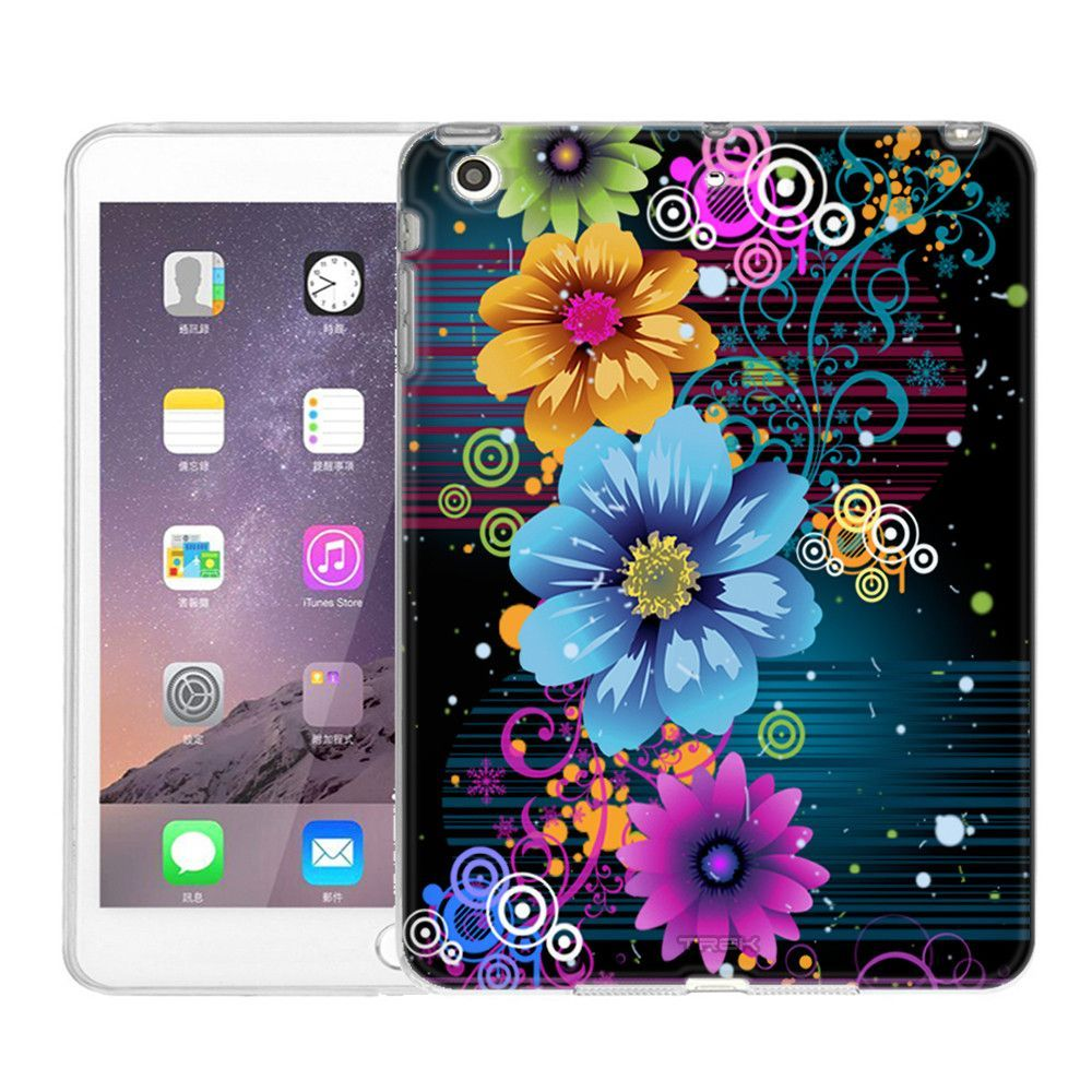 Apple iPad Mini Bright Floral Neon on Black Slim Case