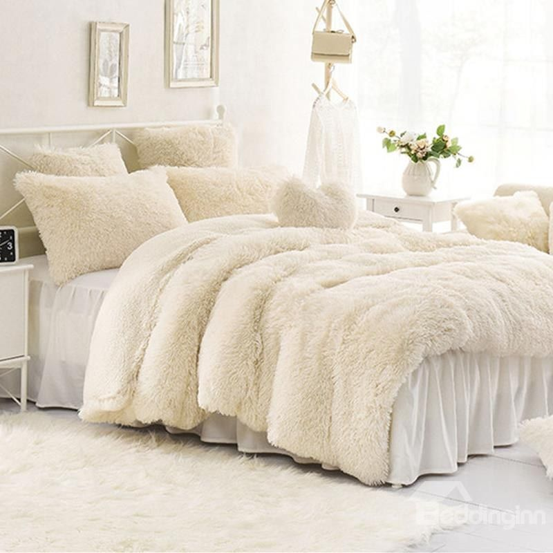 Solid Creamy White Super Soft 4 Piece Fluffy Bedding Sets Duvet Cover Duvet Bedding Fluffy Bedding Bedding Sets