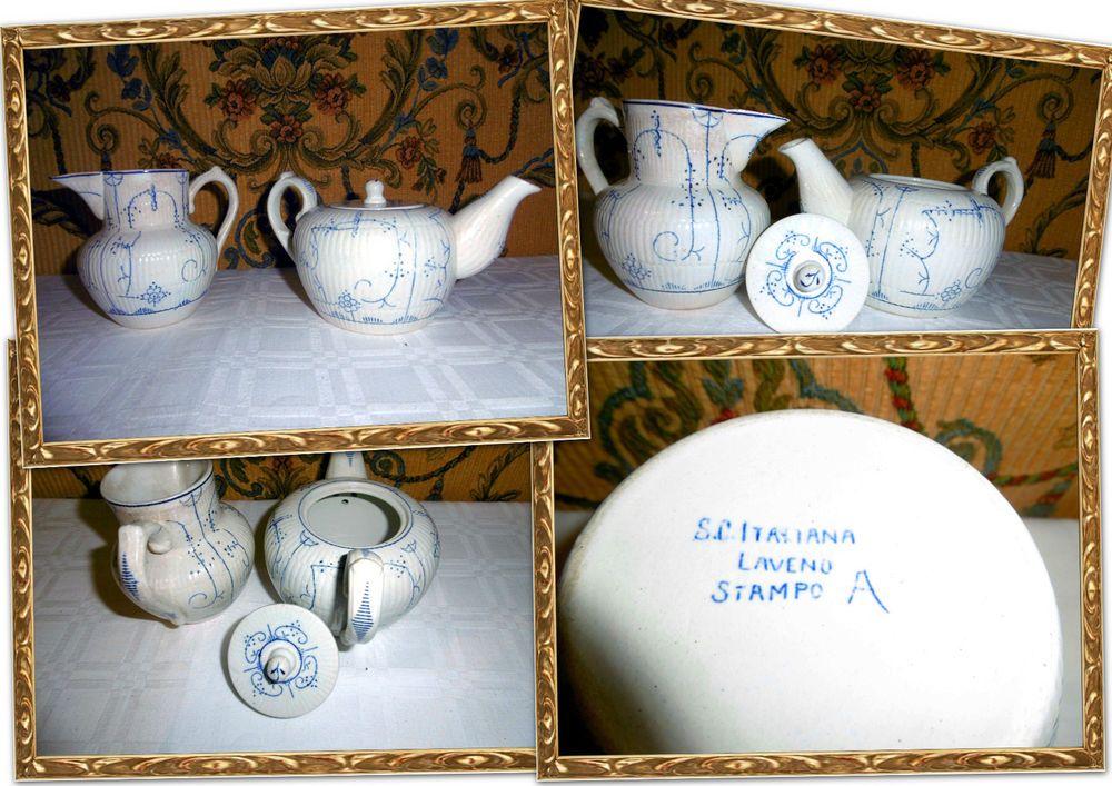 Tris di tazze colazione the vintage ceramiche f a c albisola oro