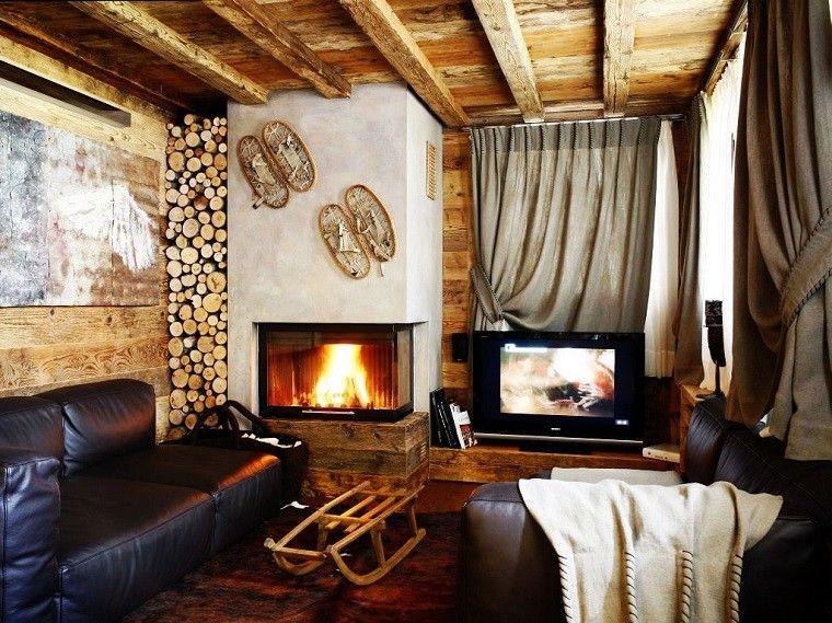 salones rusticos muebles cuero sofa negro chimenea ideas - Salones Rusticos Con Chimenea