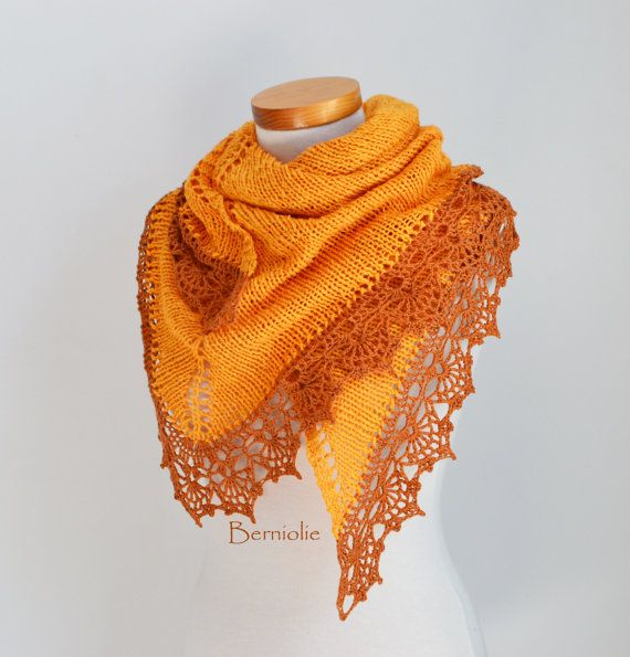 Knitted shawl with crochet lace trim, Gold, Yellow, Orange, M202 ...