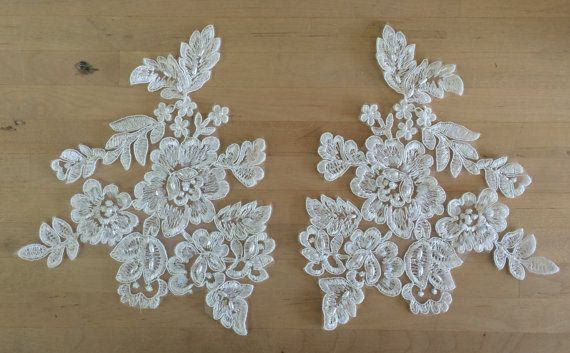 Ivory beaded applique with cording floral appliques with ivory
