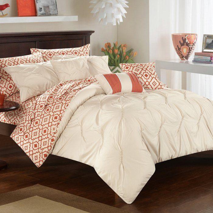 Sabrina 10 Piece Reversible Comforter Set Bedding Sets
