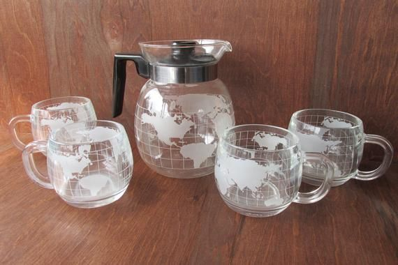 Vintage 1970s Nestle Globe Coffee Pot and Glass Mugs, Vintage Kitchenware, Retro Diner Decor, World Map Pitcher Cups Set, Coffee Bar #retrodiners
