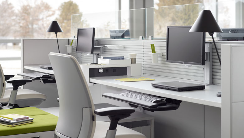 Organized workspaces with ergonomic solutions.