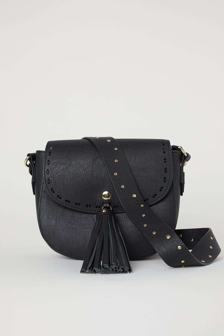 0359d1a416 Small Shoulder Bag with Tassel - Black faux leather - Ladies