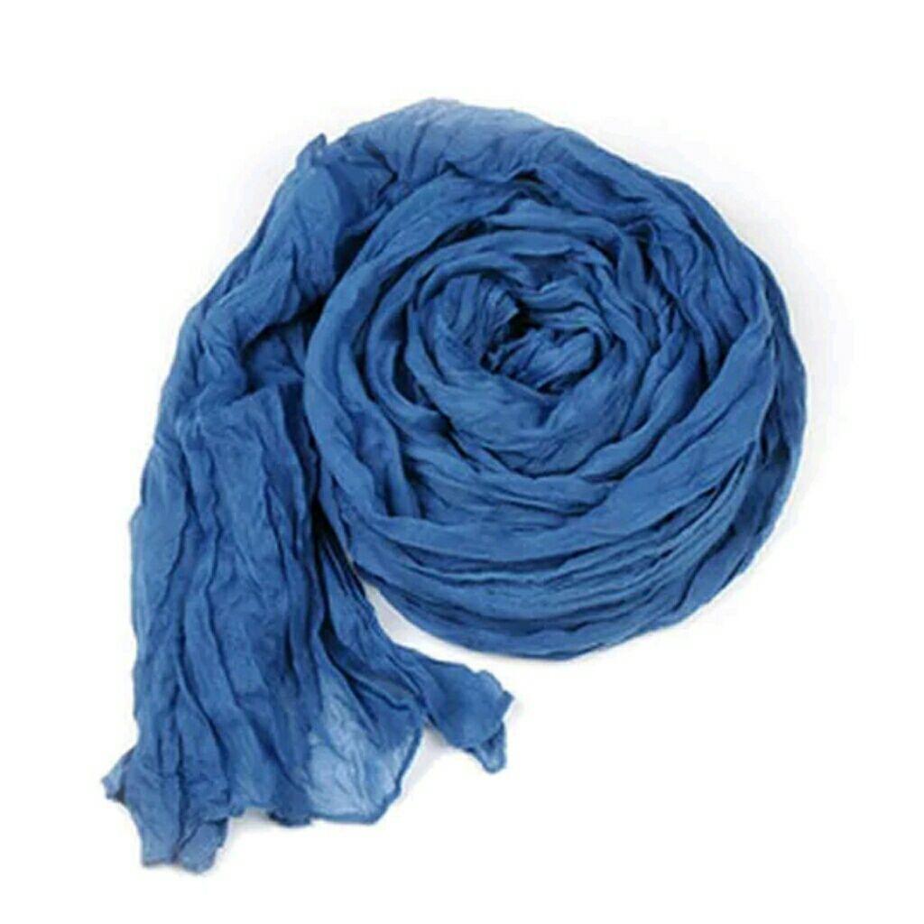 Long Blue Cotton Blend Crinkle Scarf Scarf wrap, Shawls