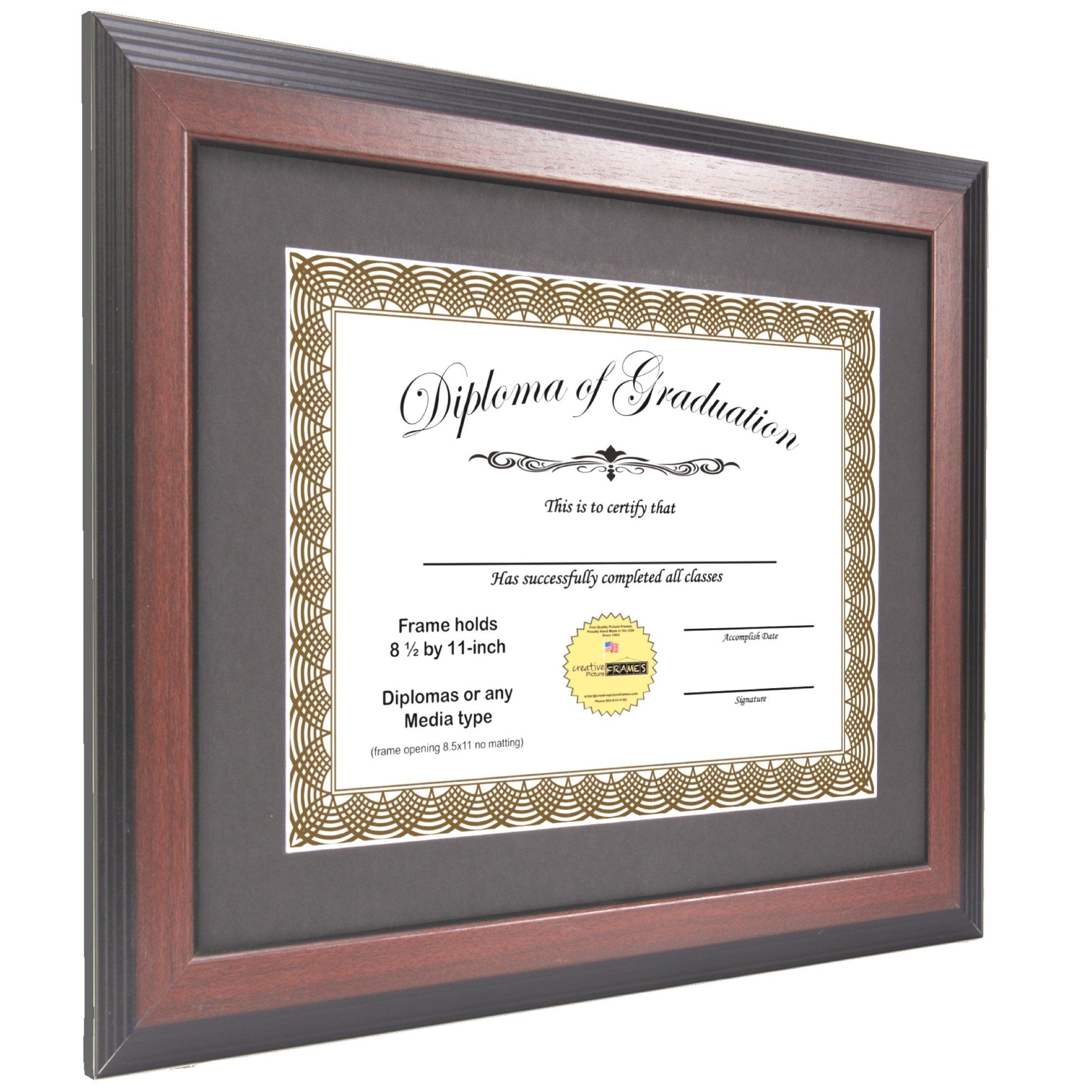 Creativepf 11x14mh Mahogany Diploma Frame With 11x14inch White Mat To Hold 8 5 By 11inch Graduation Documents W Stand And Diploma Frame Frame Document Frame