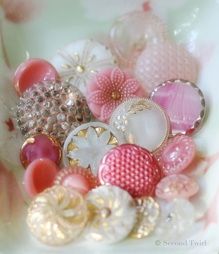 Vintage pink and white glass buttons   Flickr - Photo Sharing!