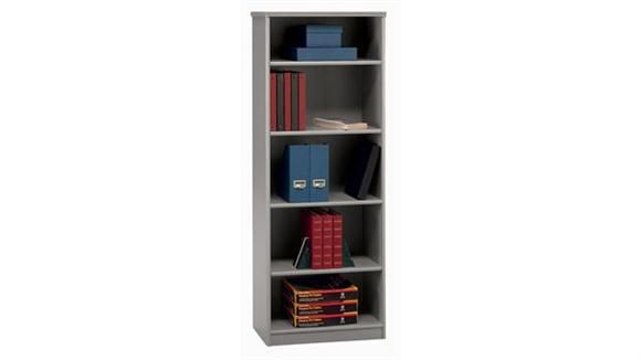 5 Shelf Bookcase White Spectrum Top / Pewter By Bush   1 800 460