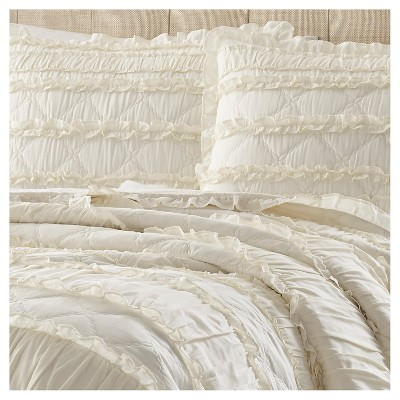 Solid Ruffle Quilt And Sham Set Full Queen Ivory Stone Cottage