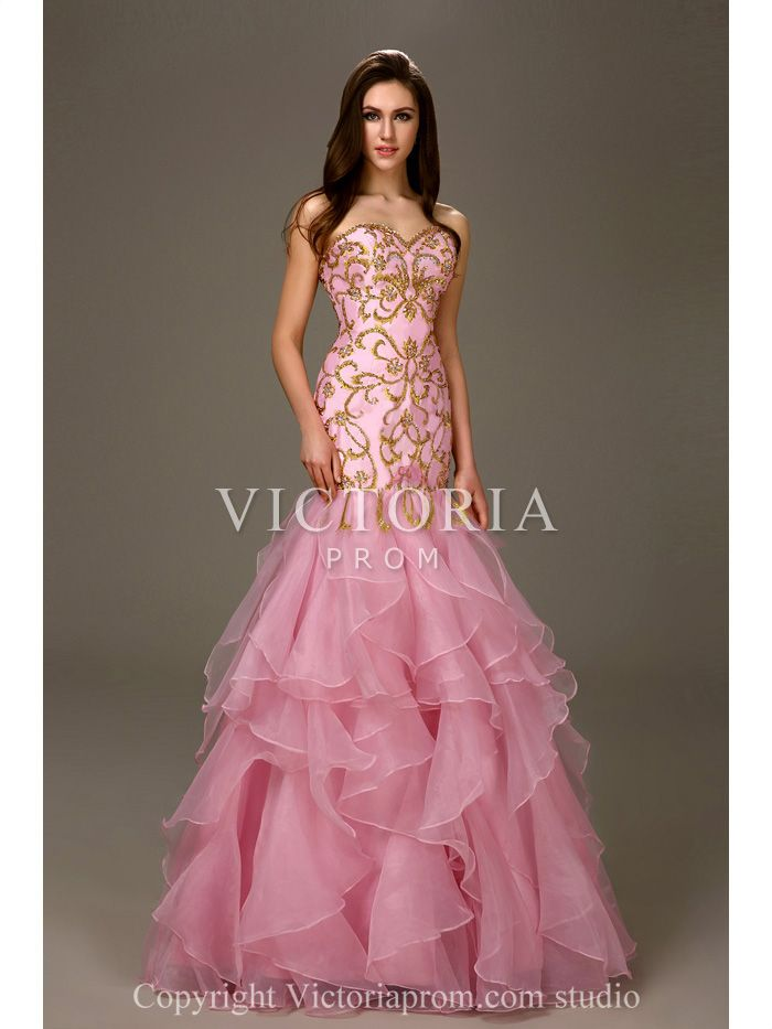 Pink Organza Embroidered Mermaid Floor Length Sweetheart Prom Dress ...