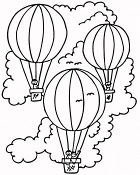 Hot Air Balloon Colouring In Page Applique Designs Pinterest