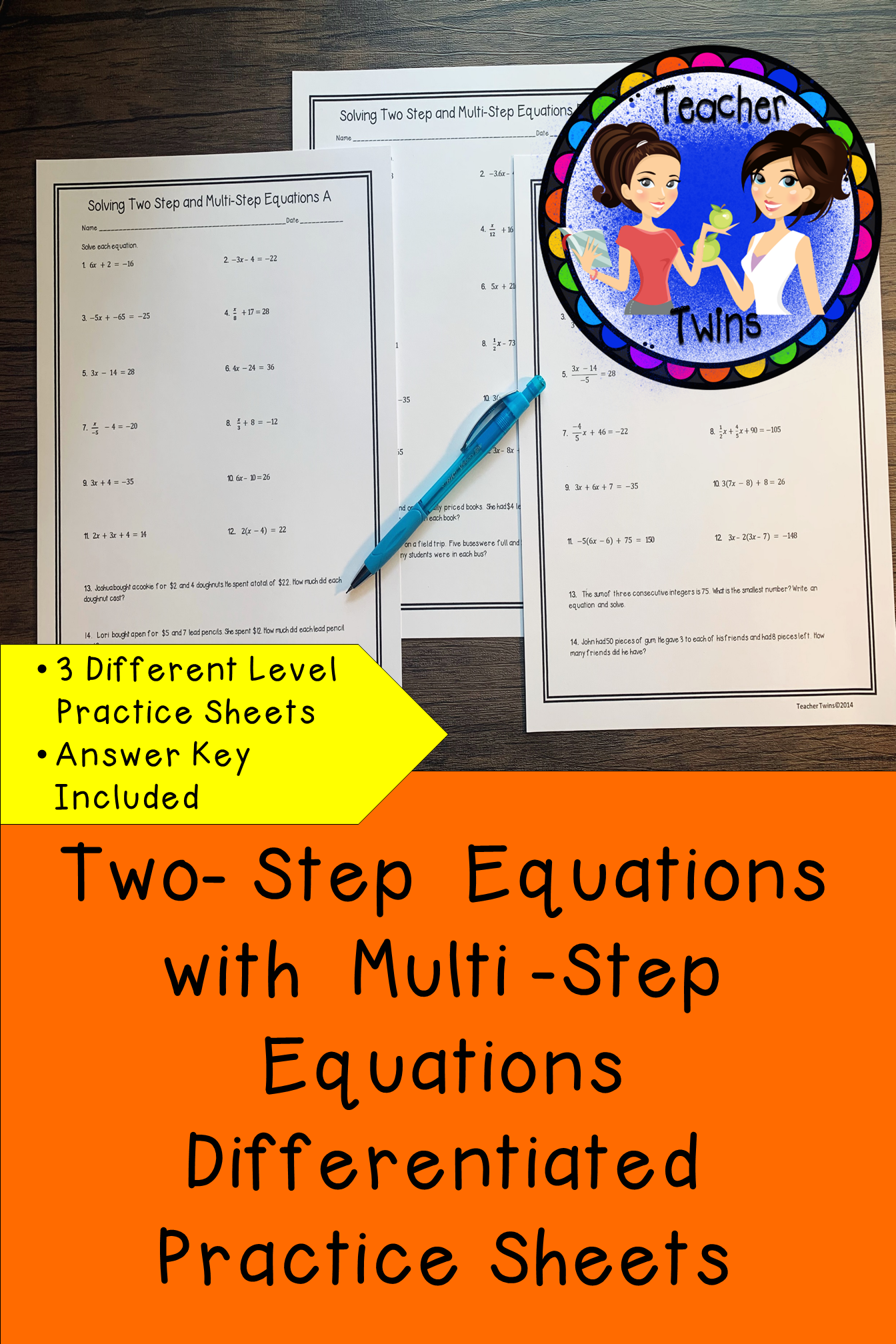 Two Step Equations With Multi Step Equations