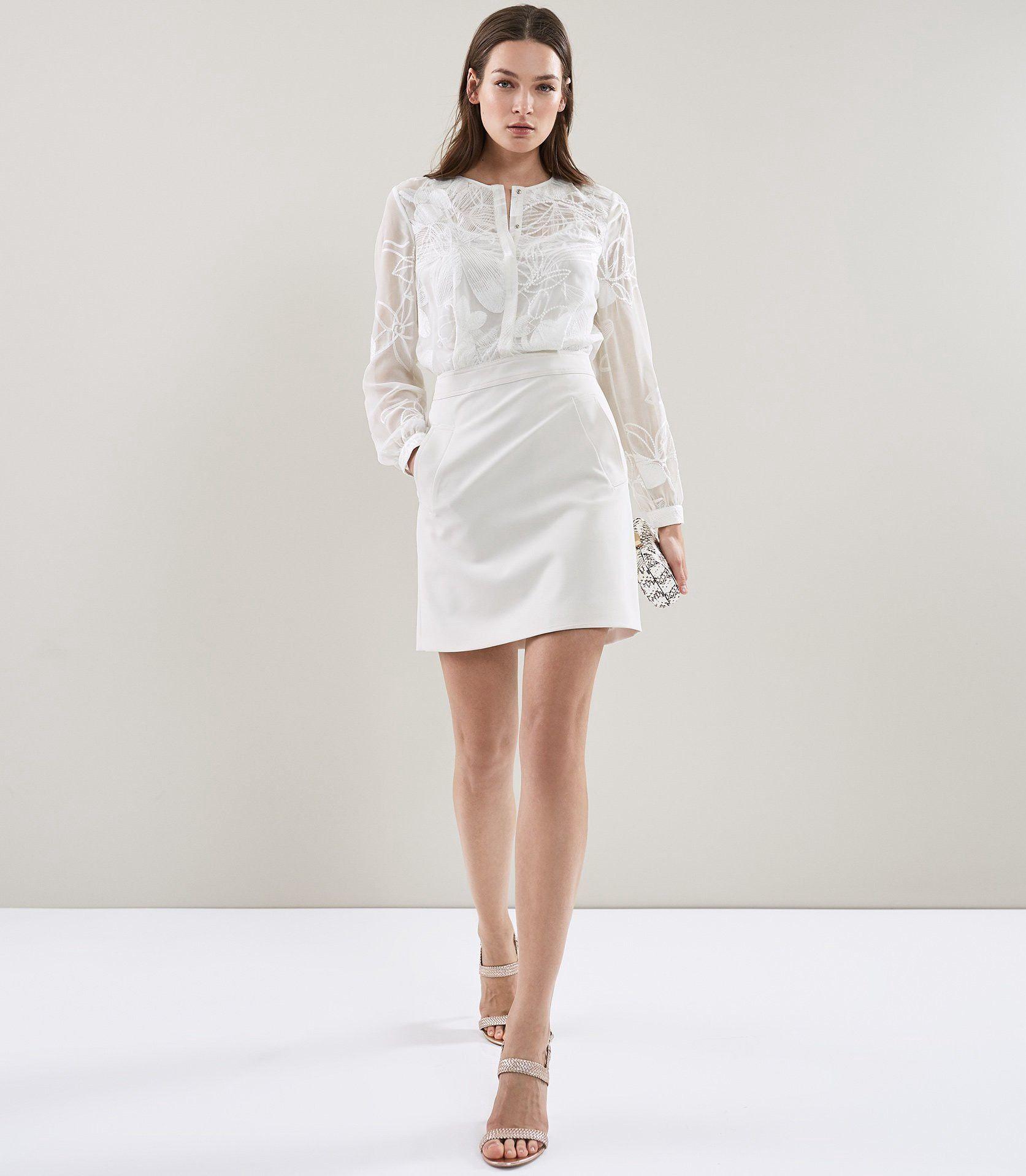 29c9b4d0339 Reiss Rosemary Lace Pocket Dress White - 10
