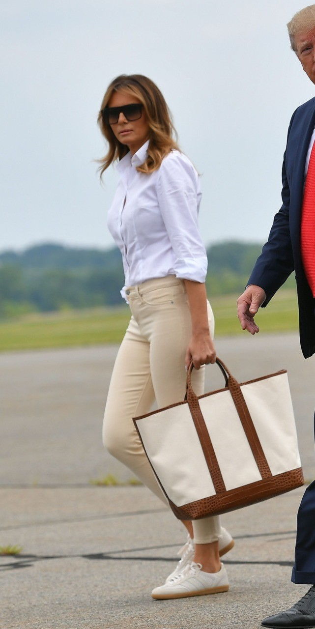 Photo of Fashion Notes: Melania Trump Clutches Michael Kors Tote for Signature Summer Jet-Set Style