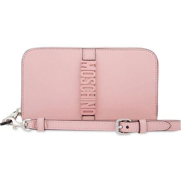 MOSCHINO Logo leather wallet (620 AUD) ❤ liked on Polyvore featuring bags, wallets, zip-around wallet, pink bag, pink zip around wallet, moschino wallet and logo bags