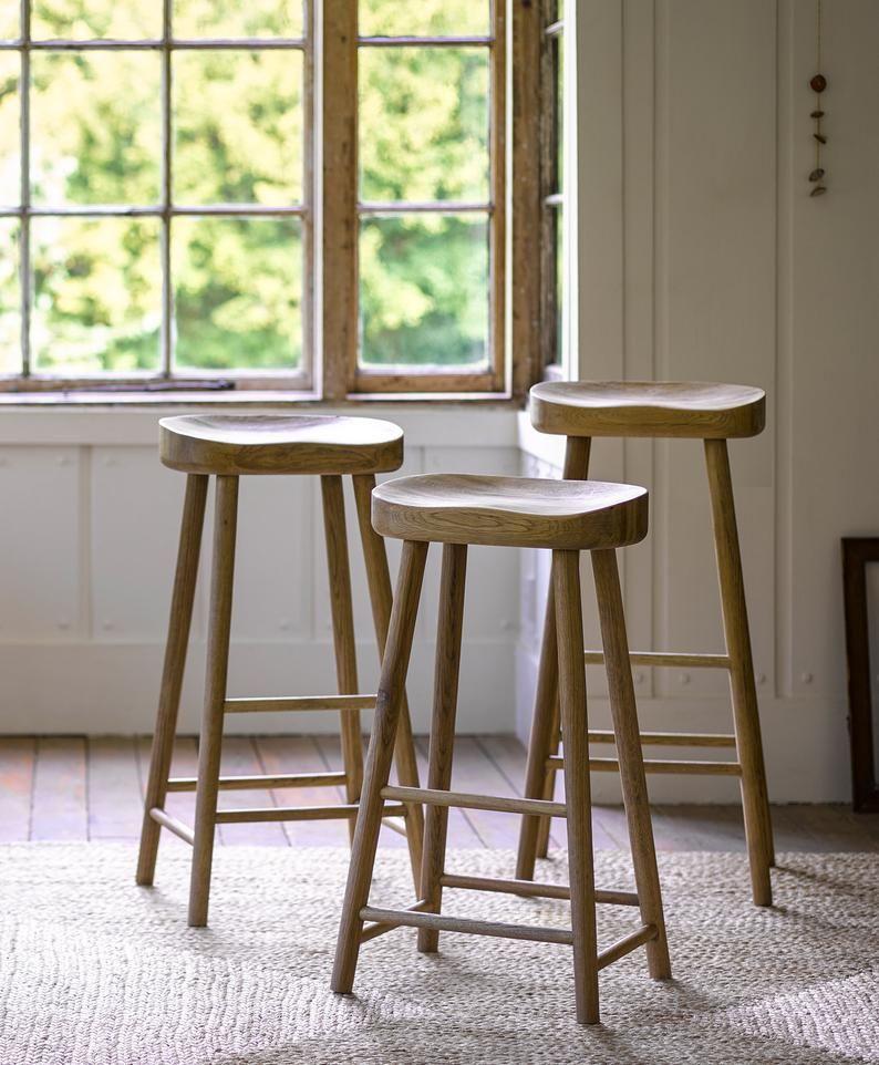 Bailey Weathered Oak Stool Etsy Oak Stool Comfortable Bar Stools Wooden Kitchen Stools