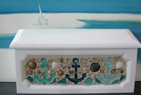 Anchor Seashell Wall Mount Mailbox Beach Wall By Ceshoretreasures Wall Mount Mailbox Decorative Boxes Coastal Decor